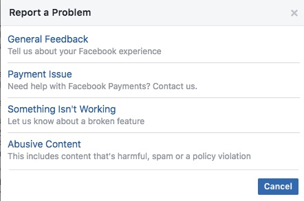 How to report problems to Facebook, such as Facebook