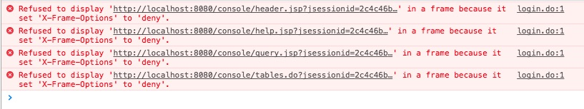 Accessing the Spring H2 database console when X-Frame